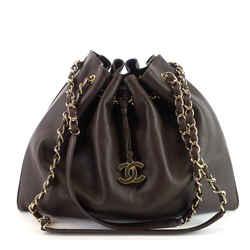 Cc Drawstring Medium Leather Bag