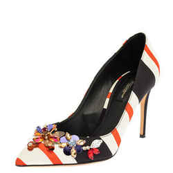 Dolce & Gabbana Multicolor Canvas Embellished Pointed Toe Pumps Size 39