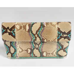 Judith Leiber Large Snakeskin Clutch Hand Bag Green Stones NWT