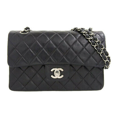 Auth Chanel Chanel Lambskin W Flap Chain Shoulder Bag Black 6s Leather