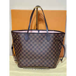 Louis Vuitton Neverfull Mm Damier Ebene Rose Ballerine Shoulder Tote Bag 12.6L x 6.7W x 11.4H