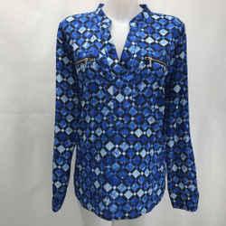 Michael Kors Blue Printed Blouse Large