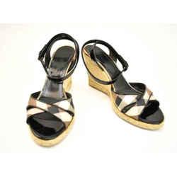"Burberry: Black, Leather & ""nova Check"" Espadrille Wedge Sandals/heels Sz: 9.5m"