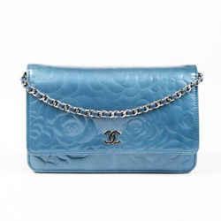 Chanel WOC Camellia Bag Blue Patent Leather CC Crossbody