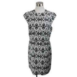 Theory Black White Polyester Viscose Dress Size 10