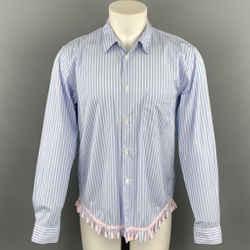COMME des GARCONS HOMME PLUS Size M Blue Stripe Cotton Fringe Trim Long Sleeve Shirt