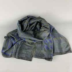 Emporio Armani Stripe Olive & Black Silk / Cotton Print Woven Scarf