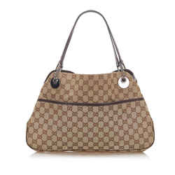 Vintage Authentic Gucci Brown Beige Canvas Fabric GG Eclipse Shoulder Bag Italy