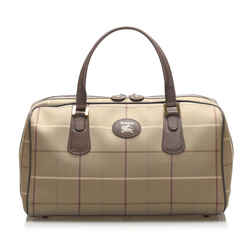 Vintage Authentic Burberry Brown Plaid Canvas Travel Bag United Kingdom