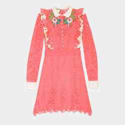 Sz 40 New $4300 Gucci Runway Pink Eyelet Ruffle Flower Broderie Anglaise Dress