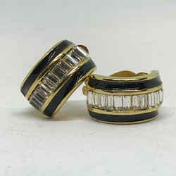 Vintage St John Clip Back Crystal Rhinestone Goldplated Black Enamel Earrings