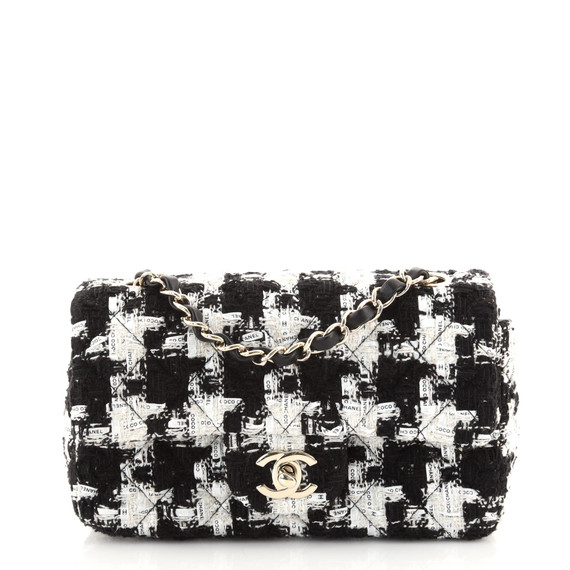 Classic Single Flap Bag Quilted Houndstooth Tweed and Ribbon Mini