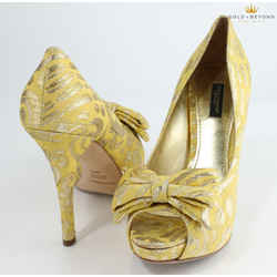 Dolce&gabbana Yellow Silk Brocade Bow Platform Pumps