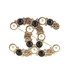 CC Brooch Metal with Crystals and Faux Pearls