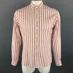 Burberry London Size M Brick Red Stripe Cotton Blend Button Up Long Sleeve Shirt