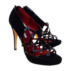 BRIAN ATWOOD Black Suede Open Toe Criss Cross Design Platforms Size 8
