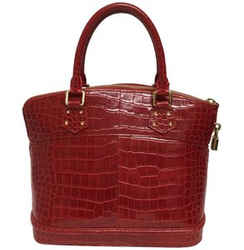 "Louis Vuitton Lockit Rouge Red Crocodile Skin Leather Satchel 9.5""L x 11""W x 6""H Item #: 24285386"