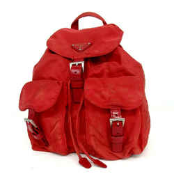Prada Red Twin Pocket Backpack Tessuto Bookbag 858404