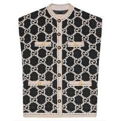 Gucci Black Chaleco de Tweed Sleeveless GG Logo Vest Size 36 575931 94gga2