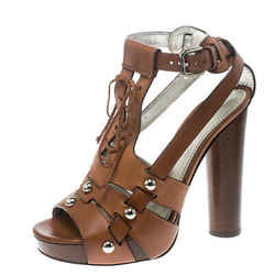 Dolce and Gabbana Brown Leather Stud Detail Ankle Strap Platform Sandals Size 38