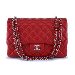 11p Chanel Red Caviar Jumbo Classic Double Flap Bag Shw