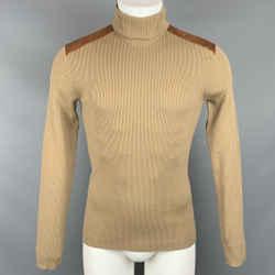 RALPH LAUREN Black Label Size S Tan Ribbed Knit Wool Blend Turtleneck Pullover