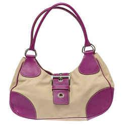 Prada Purple/Beige Canvas and Leather Buckle Flap Shoulder Bag