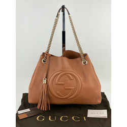 Gucci Brown Medium Soho Pebbled Leather Chain Strap Shoulder Bag B273 Authentic
