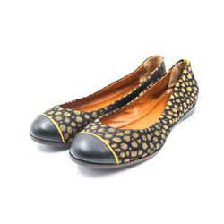 Fendi Size 7.5/38 Black & Gold Polka Dot Ballet Flats