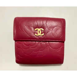 Chanel Red Embossed Camellia Bifold Wallet 2012