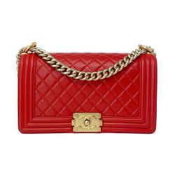 Chanel Old Medium Lambskin Le Boy Bag Red Ghw