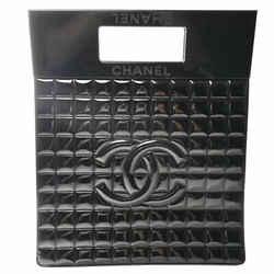 Auth Chanel Chanel Patent Chocolate Bar Deca Coco Mark Handbag Black