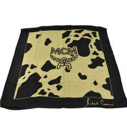 """Mcm: Black/antique Gold, 100% Silk, Logo Scarf/foulard 33"""" X 33"""" (my)"""