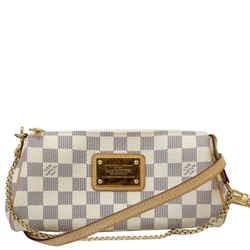 LOUIS VUITTON Pochette Eva Damier Azur Clutch Crossbody Bag White