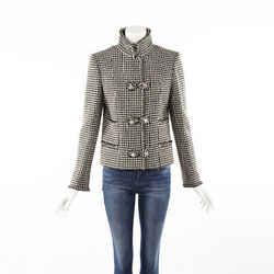 Chanel Houndstooth Brown Cream Wool Jacket SZ 42