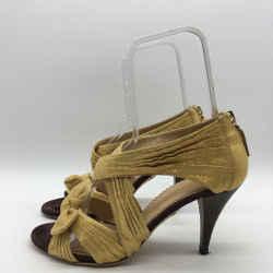 Charlotte Olympia Metallic Strappy Wood Heels Size 8.5