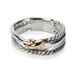 David Yurman X Crossover Band in 18K Yellow Gold/Sterling Silver