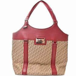 Auth Christian Dior Trotter Street Chic Canvas Shoulder Bag Red Beige