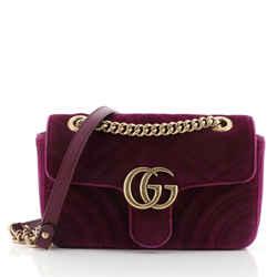 GG Marmont Flap Bag Matelasse Velvet Mini