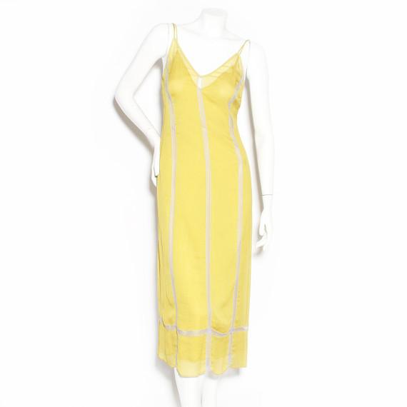Prada Chartreuse Chiffon Slip Dress FW1996