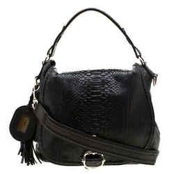 Gucci Black Python Large Techno Horsebit Shoulder Bag