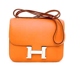 hermes  Epsom Constance Elan 18 Feu Bag Palladium New In Box
