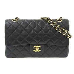 Auth Chanel Chanel Matrasse Lambskin W Flap Chain Shoulder Bag Black W25 1st Lea