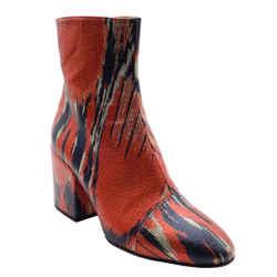 Dries van Noten Red Multi Ikat Ankle Boots/Booties