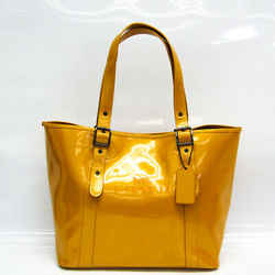 Coach FERRY TOTE F28471 Women's Patent Leather Tote Bag Dark Yellow BF519184