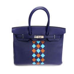 Hermes Limited Edition Bleu Encre Swift & Epsom Tressage Birkin 35 with PHW