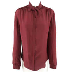 Burberry Prorsum Size 6 Burgundy Silk Bow Collar Blouse