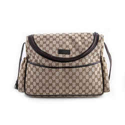 Gucci Leather Trimmed Canvas Diaper Bag Brown One Size Authenticity Guaranteed