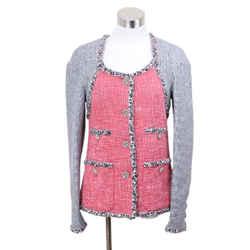 Chanel Red Grey Cotton Tweed Rayon Blazer Sz 6