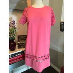 Ermanno Scervino Size 42 Salmon Lace Sleeve Shift  Dress - 3